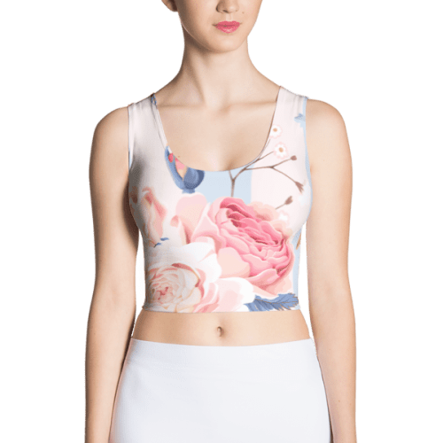 Blue and Pink Floral Crop Top