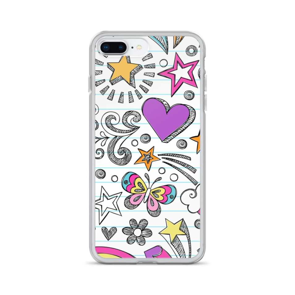 Doodle Notebook Pattern iPhone Case iPhone X Case, iPhone 8 Plus Case, iPhone 7 Case