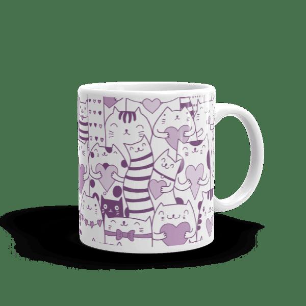 Heart You Multi-Pattern Cats Purple and White Mug