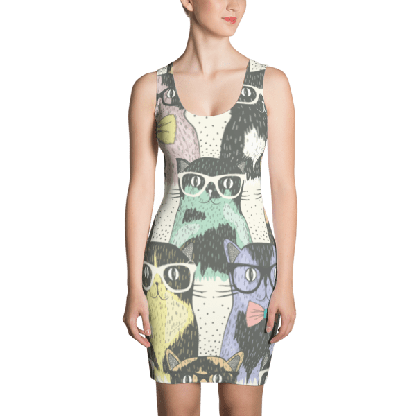 Cat Geeks Colorful Pattern Dress