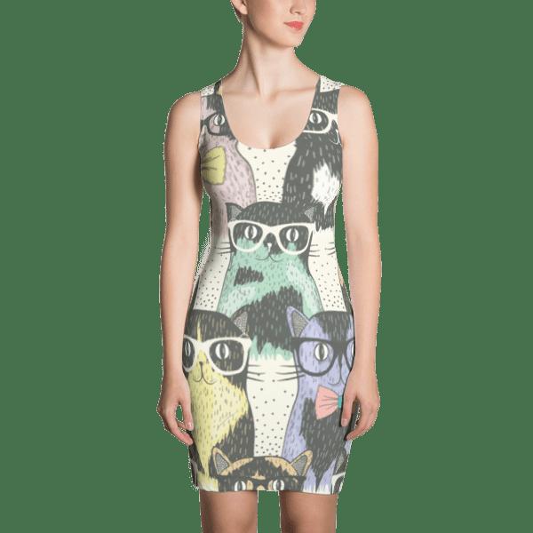 Cat Geeks Colorful Pattern Dress