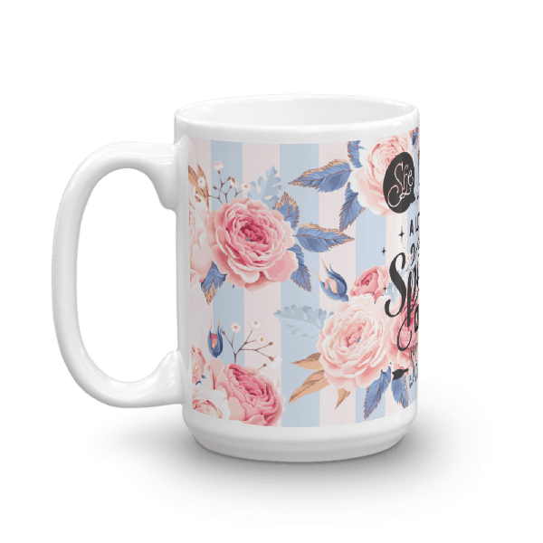 She Leaves Sparkles Blue and Pink Floral Valentine Mug
