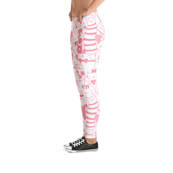 Heart You Pink and White Cat Pattern Leggings
