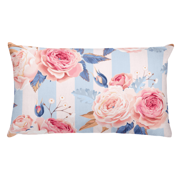 Blue and Pink Floral Rectangular Pillow