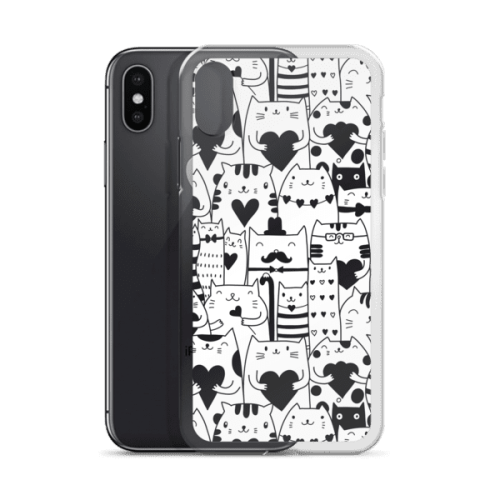 Heart You Black and White Multi-Cat Pattern iPhone Case