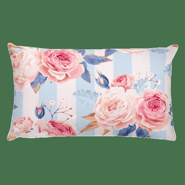 Blue and Pink Floral Rectangular Pillow