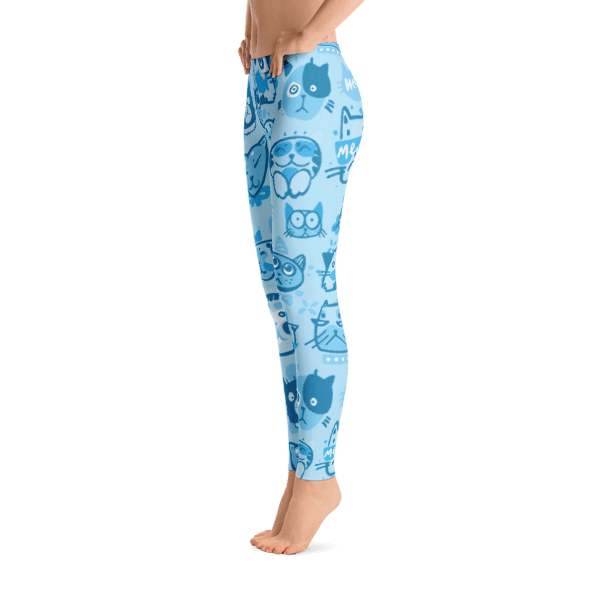 Blue Multi-Pattern Cat Leggings