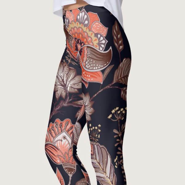 Brown Multi-Color Nature Leaves Print Pattern Leggings