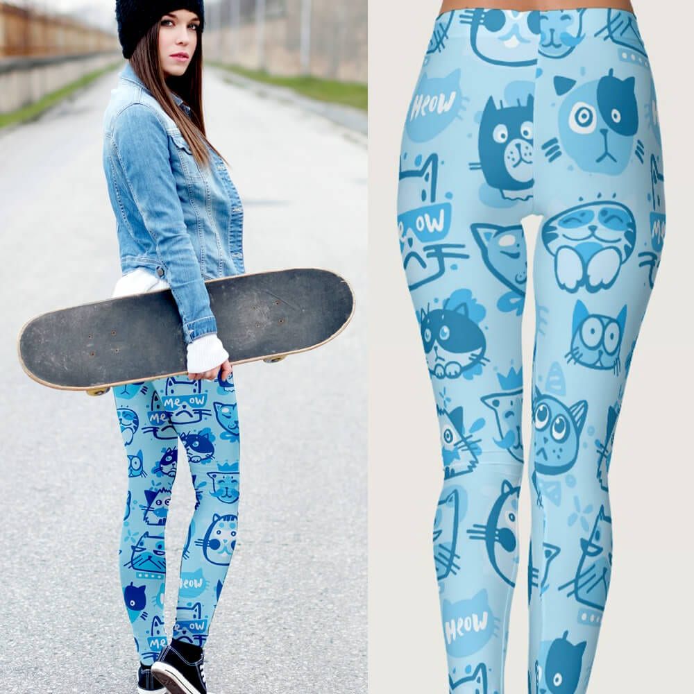 Blue Multi-Pattern Main Coon Cat Leggings