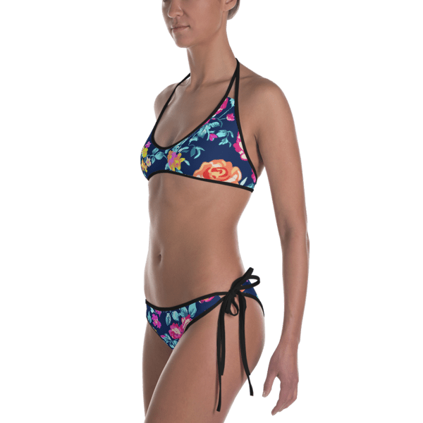 Gorgeous Colorful Chaos Flower Pattern Bikini
