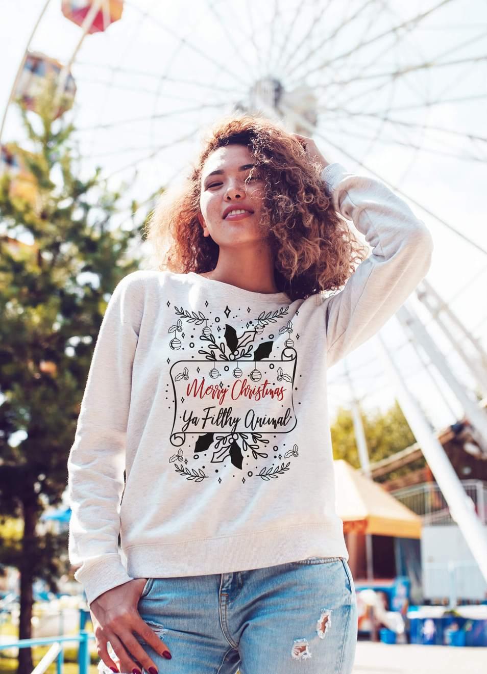Merry Christmas Ya Filthy Animal Funny Ugly Christmas Sweater