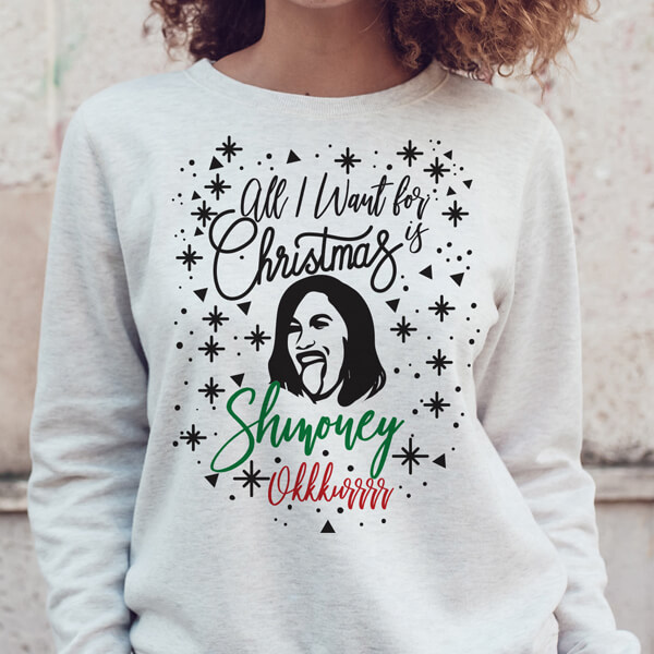 All I Want for Christmas is Shmoney Okkkurrrr Cardi B Ugly Christmas Sweater
