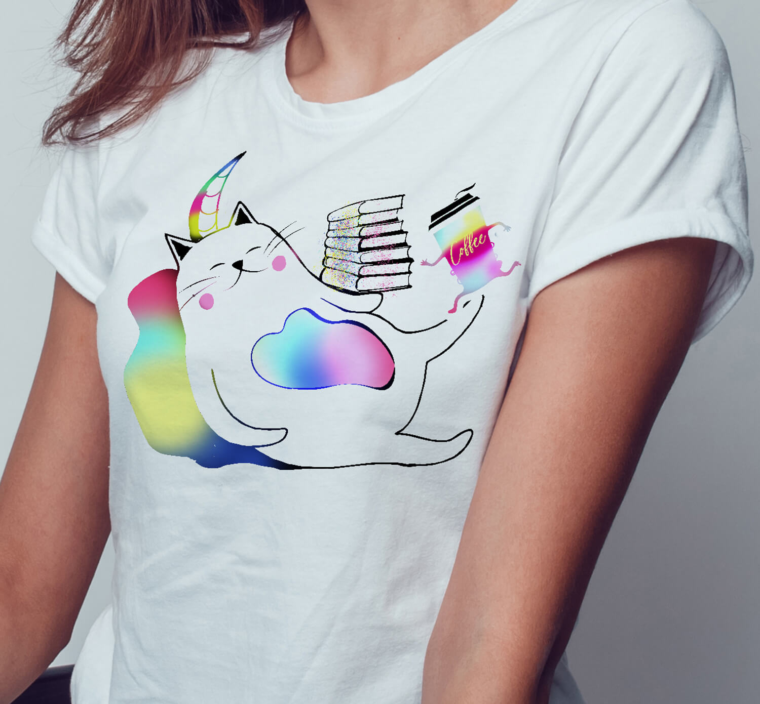 Meowgical Rainbow Caticorns, Books, and Coffee Shirt, Meowgical Caticorn, Meowgical Cat gift, Meowgical kids, Meowgical girls, Meowgical, Coffee shirt, Bookworm cat, cat,