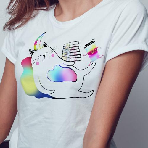 Meowgical Rainbow Caticorns, Books, and Coffee Shirt, Meowgical Caticorn, Meowgical Cat gift, Meowgical kids, Meowgical girls, Meowgical, Coffee shirt, Bookworm cat, cat,