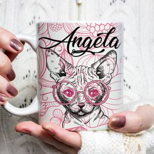 Personalized Sphynx Cat Mug, Personalized Valentine Sphynx Geeky Cat Mug - Valentine Cat Lover Mug