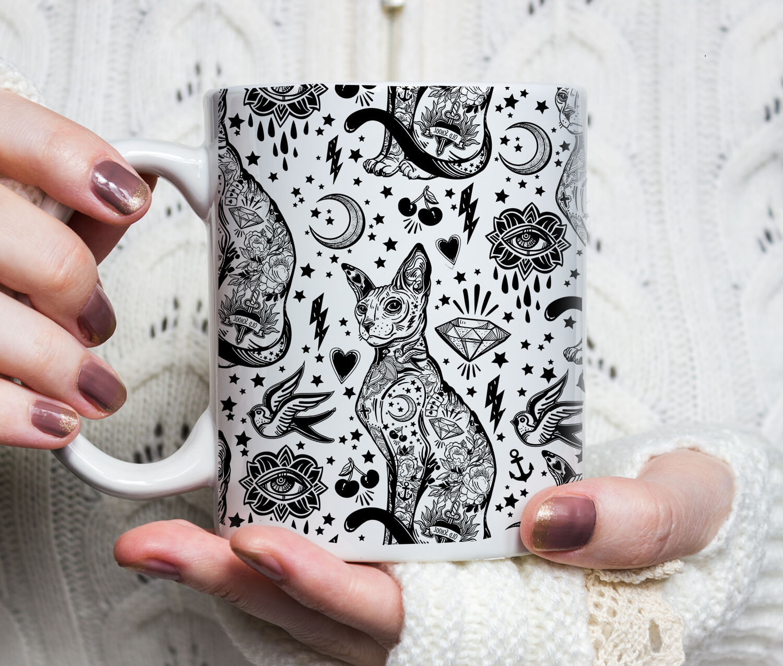 Sphynx Black Cat Coffee Mugs - Sphynx Cat Tattoo Mug