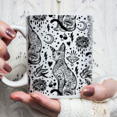 Bohemian Black and White tattoo Cat Pattern Mug