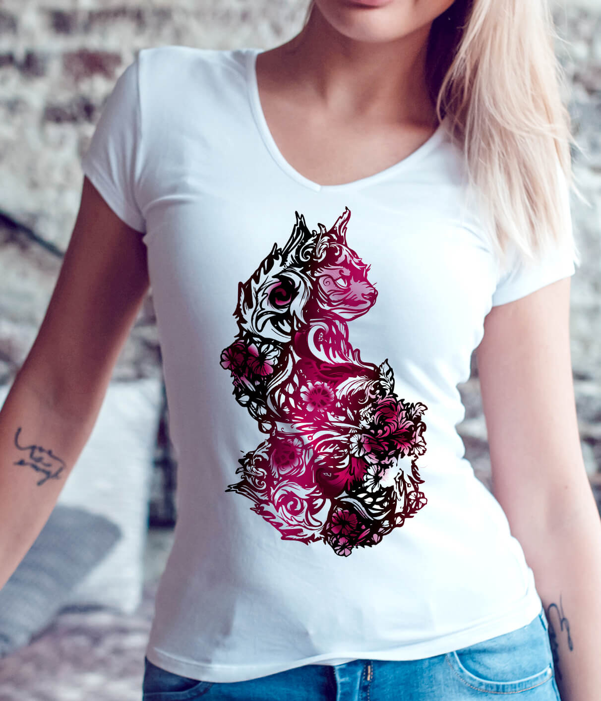 Valentine Goth Cats and Tattoos - Floral Sphynx Cat Lover Shirt