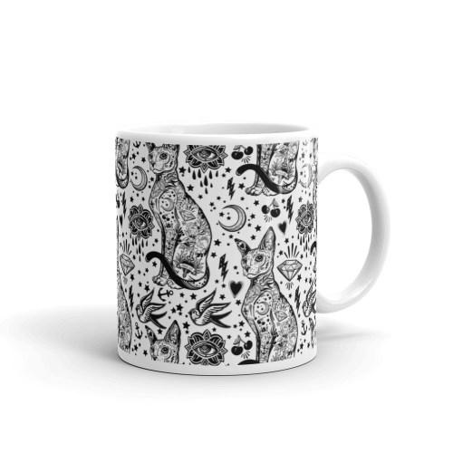Sphynx Black Cat Coffee Mugs - Sphynx Cat Tattoo Mug, Cat Lover Gift, Bohemian Black and White tattoo Cat Pattern Mug, cat mug, cat coffee mug, sphynx cat mug, black magic mug, black cat mug, cat lovers gift, cat gifts, sphynx valentine mug,