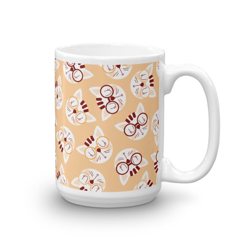 Coffee and Cream Cat Pattern Mug