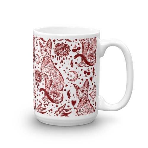 Bohemian Valentine Red and White Cat Pattern Tattoo Mug – Cat Lover Gift