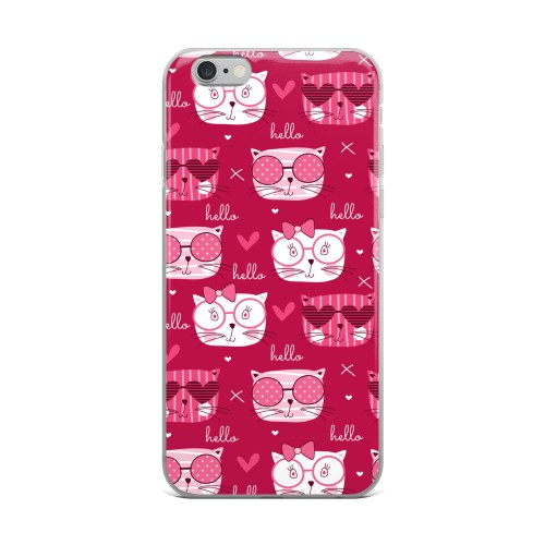 Hello Love Kittens Magenta iPhone Case