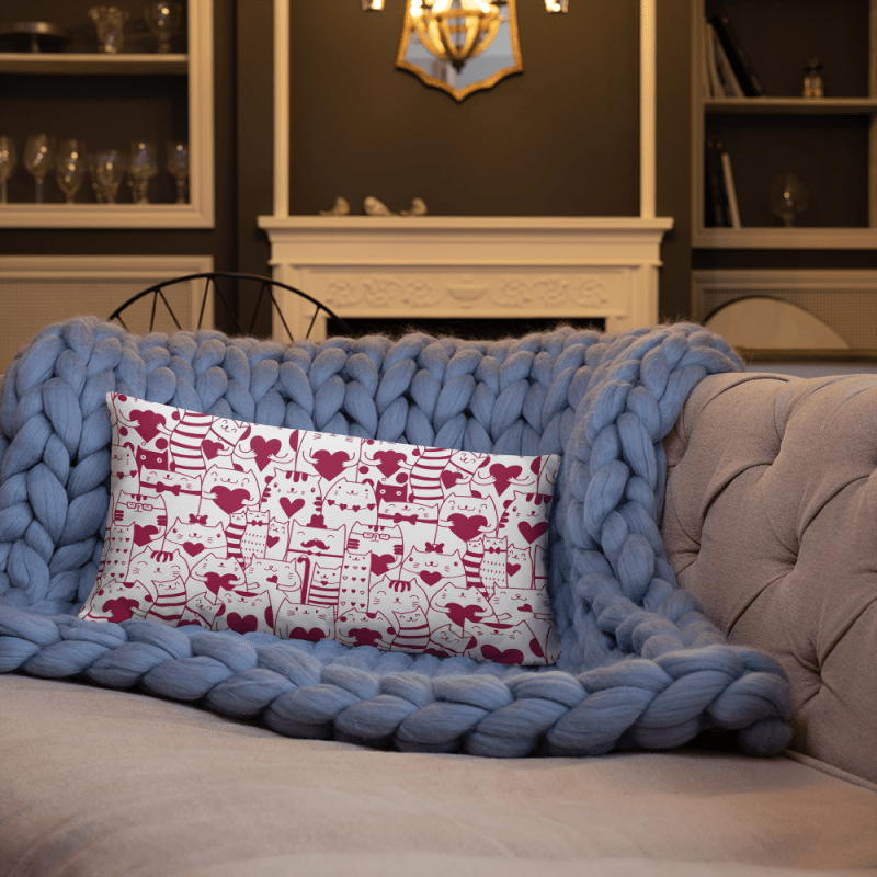 Kittens Heart Pattern Valentine's day Pillow Covers for Couch | Valentine Home Decoration