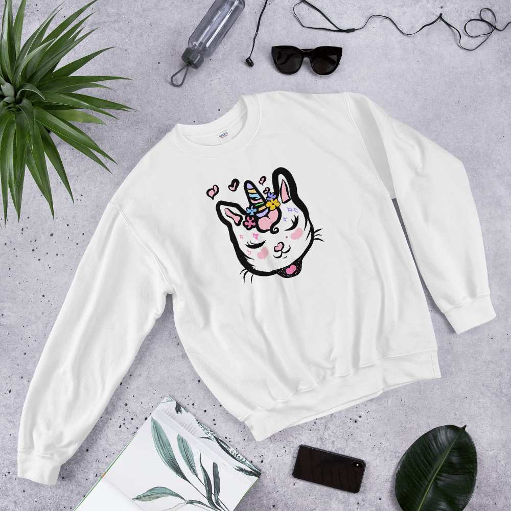 Caticorn Floral Cat Unicorn Sweater