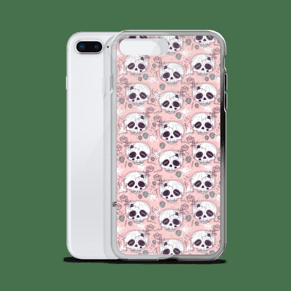 Death Before Cutie Floral Half Skull iPhone Case - iPhone 6s Case, iPhone 8 case, iPhone X case