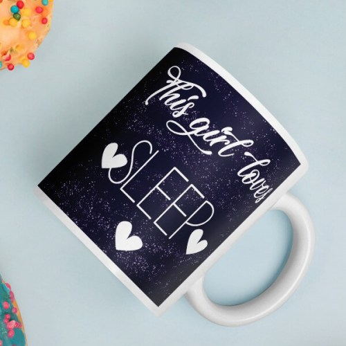 This Girl Loves Sleep Starry Blue Mug
