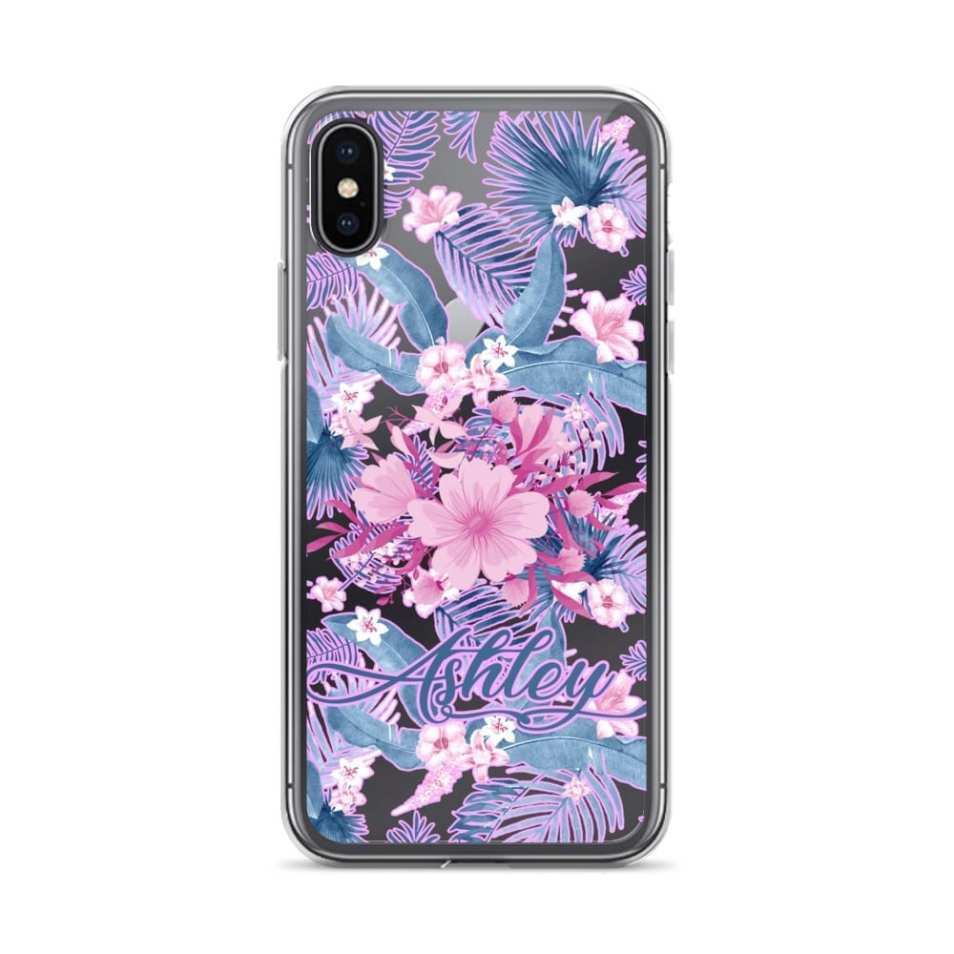Watercolor Tropical Paradise Personalized iPhone Case