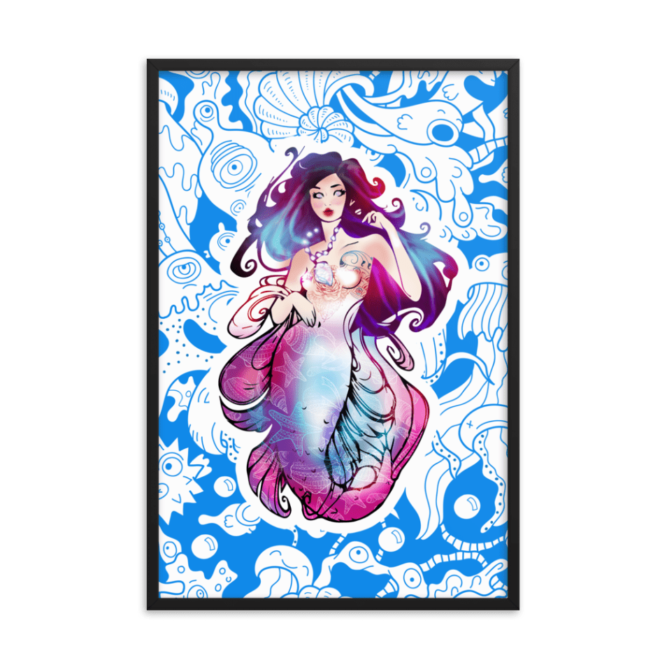 Framed Blue Mermaid Cnidaria Wall Art Print Poster