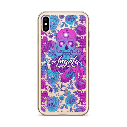 Skull Octopus Peonies iPhone Case