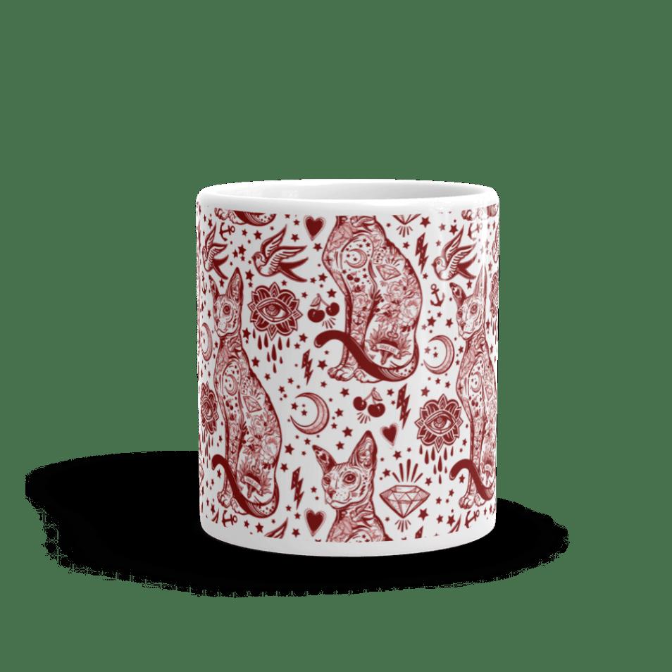 Bohemian Red Valentine Sphynx Cat Tattoo Coffee Mug