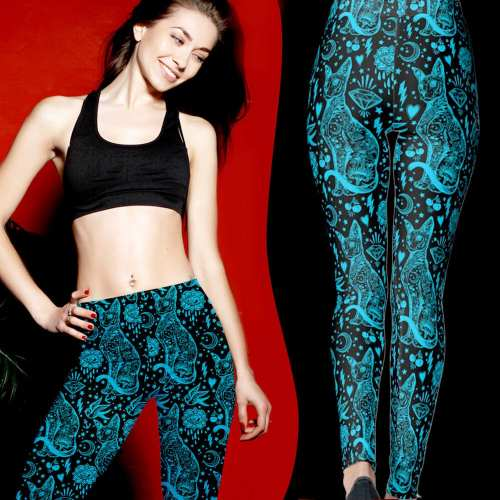 Black and Blue Sphynx Cat Leggings