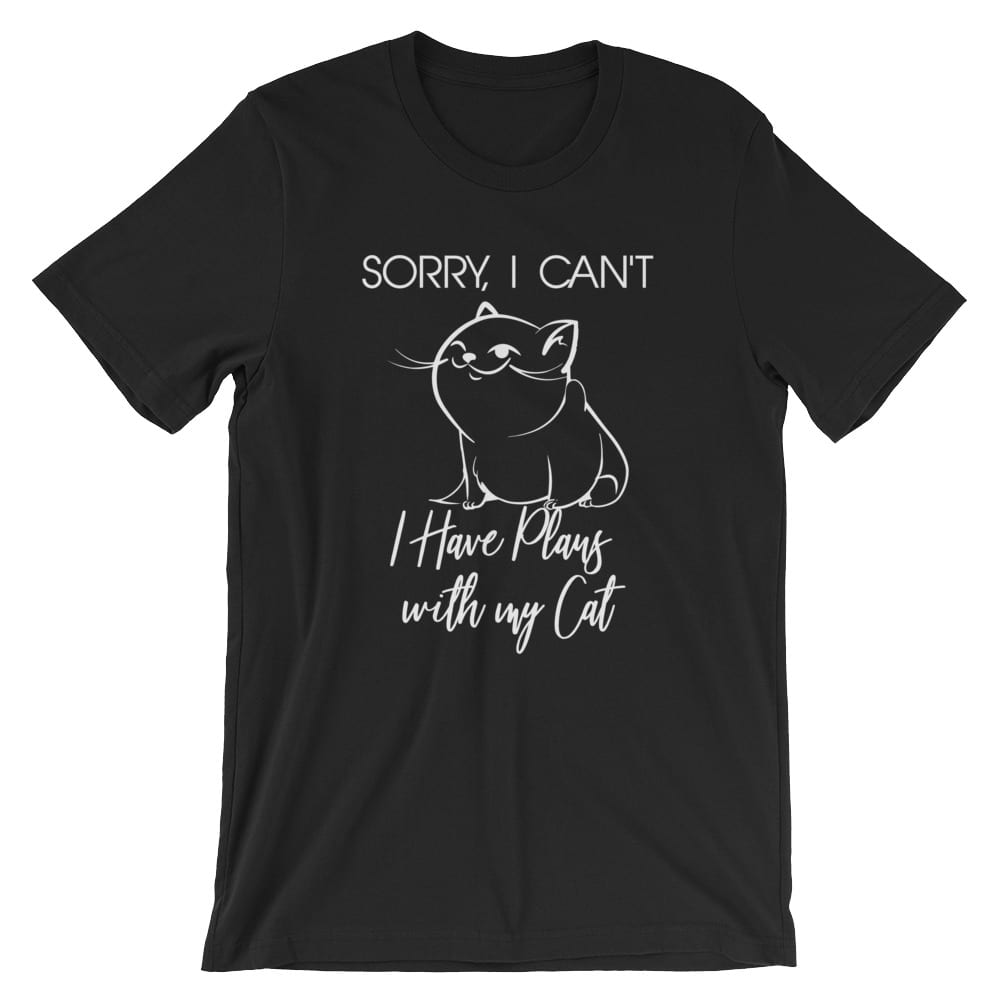 Sorry I can't I have Plans Cat Shirt Black