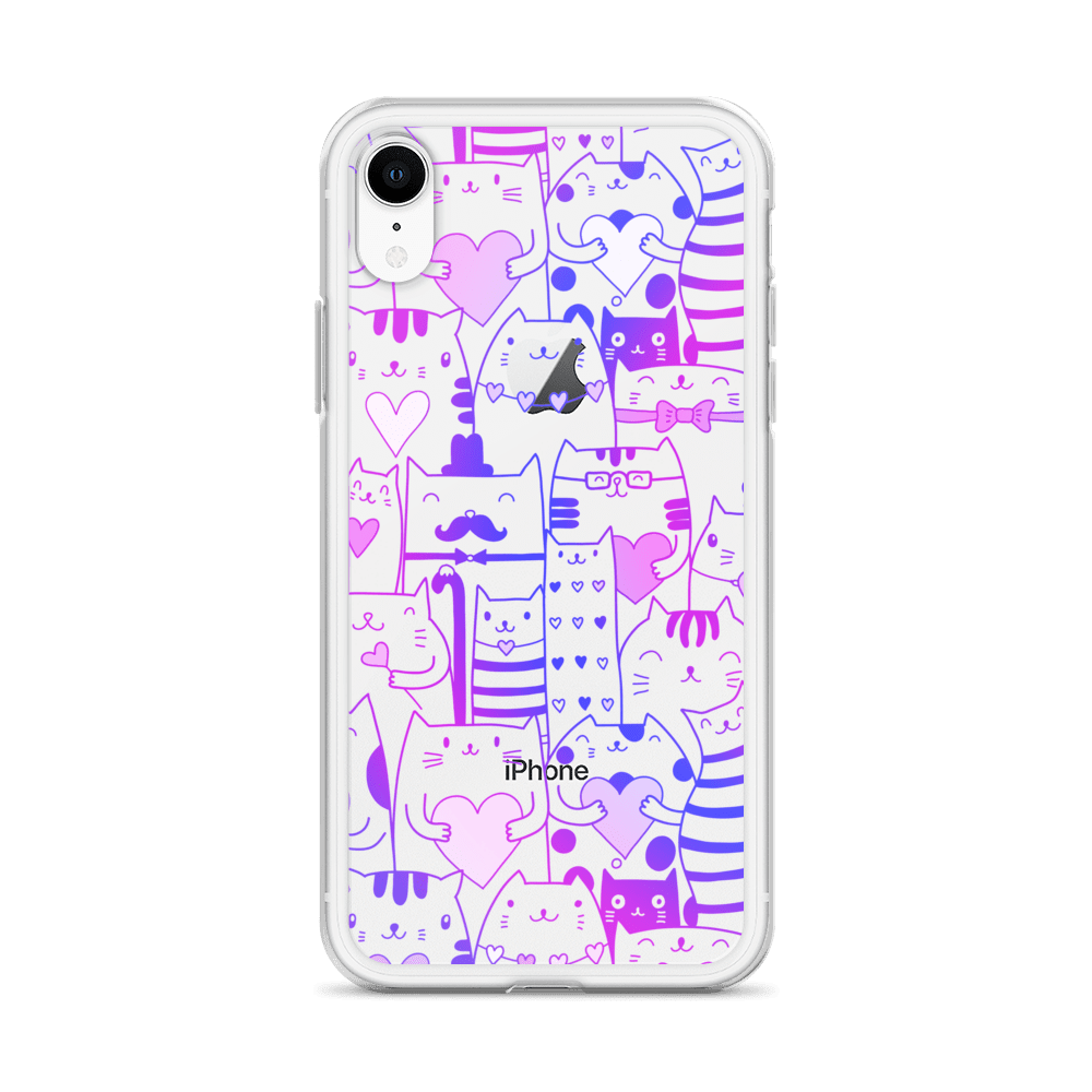 Heart You Purple and Blue Cats iPhone Case