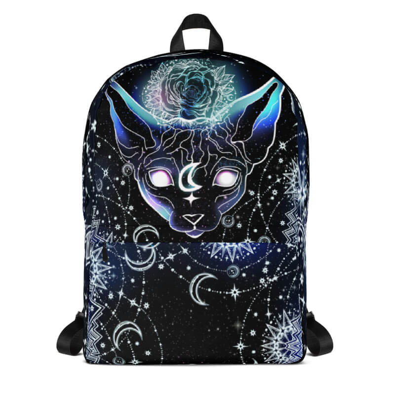 One of A Kind Celestial Moon Sphynx Cat Backpack