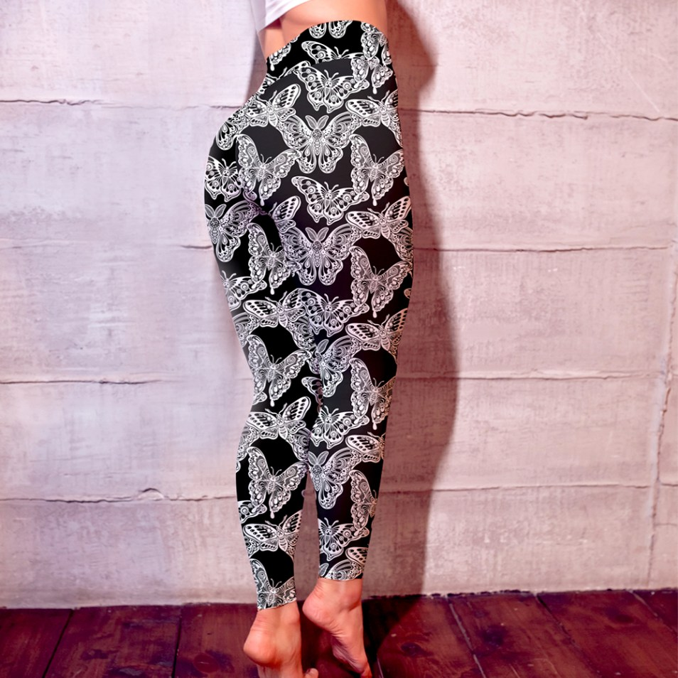 close up black and white butterfly leggings for women