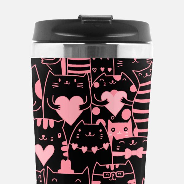 Black and Pink Cat Tumbler