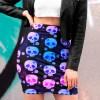 Black Gradient Royal Floral Half Skull Pencil Skirt