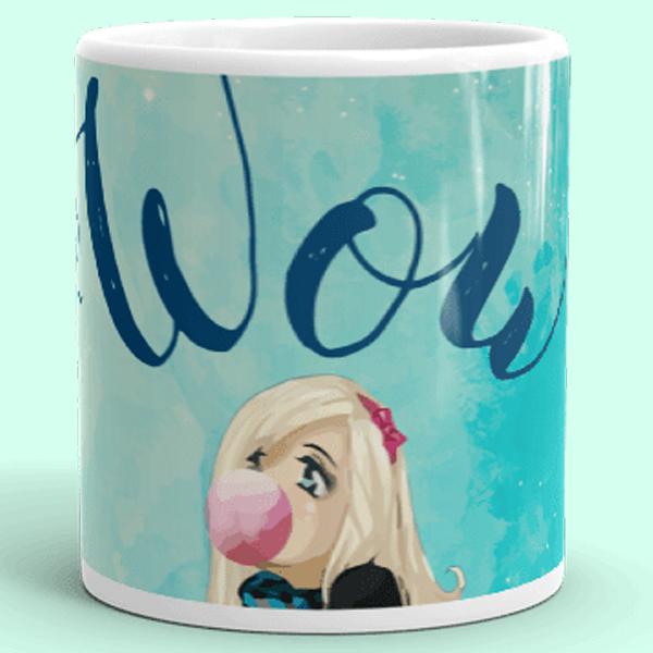 Baby Blue Wow Starry Girl Mug