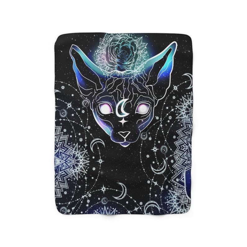 Celestial Sphynx Cat Fleece Blanket