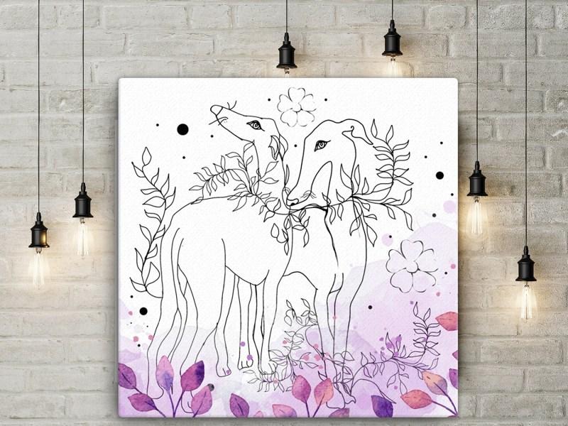 Amethyst Watercolor Hand Drawn Greyhounds Wall Art Canvas