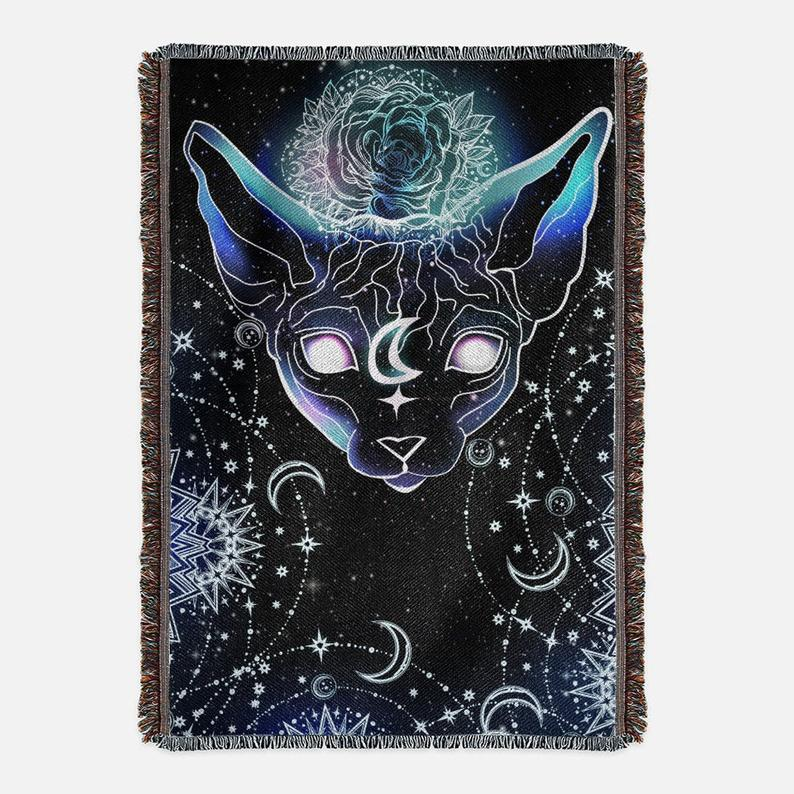 Witchy Galaxy Sphynx Cat Woven Blankets - One of A Kind Hairless Sphynx Tattoo Tapestry - Wall Hanging