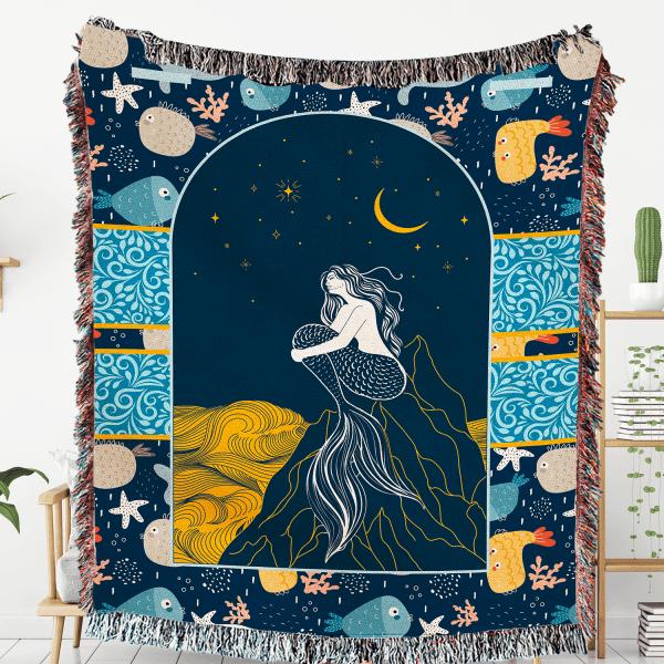 Mermaid Woven Throw Blanket Wall Tapestry