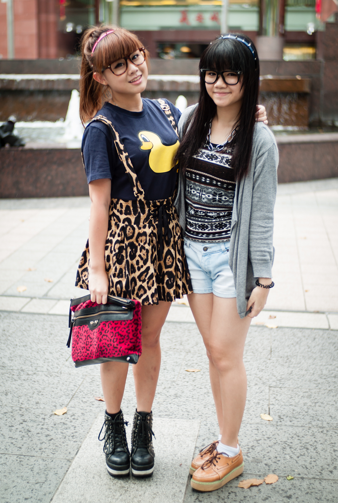 Two teenage girls in Orchard Road Singapore