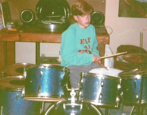 Jim Miller as a kid on his Ludwig Drumset