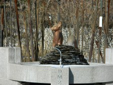 A Statue of A Deer Near a Fountain at the DMZ