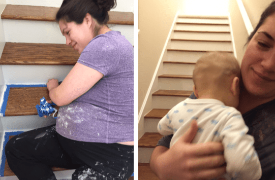 refinishing stairs with baby